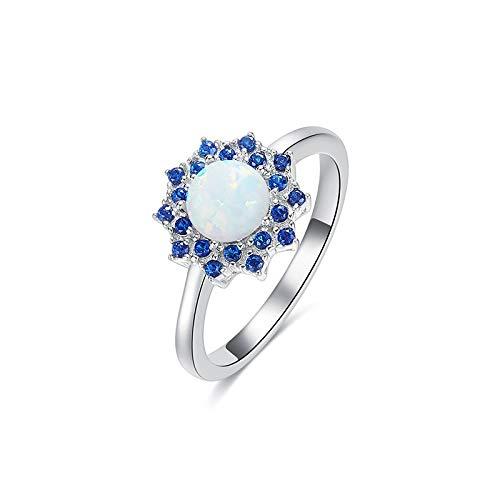 GHY Ring Trendy Shining Sun Flower S925 Sterling Silber Ring Schmuck Einfache Wild Dress Ring Schmuck,Weiß,Einheitsgröße Wild Flower Dress