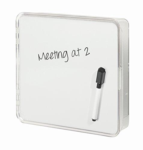 Interdesign 51240EU Linus Wandmontierter Schlüsselkasten mit Trockenlöschtafel, durchsichtig / weiß