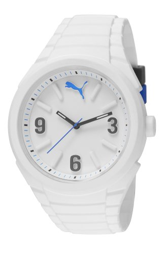 PUMA Gummy Unisex Quartz Watch with White Dial Analogue Display and White Silicone Strap PU103592002