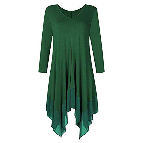 JUTOO Frauen Plus Size Unregelmäßiger Saum Pure Color Lange Ärmel Lose Shirt Top Bluse(Grün,EU:48/CN:5XL)