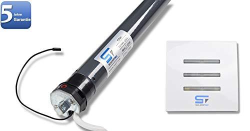 SCHARTEC - Motor de persiana inalámbrico (incluye interruptor de pared por radio, motor tubular, interruptor de persiana por radio, control de persianas de 40 y 60 mm, interruptor de persiana)