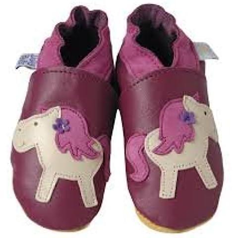 Daisy Roots Pony en ciruela–Zapatos para bebé suave piel (tamaño 0hasta 6meses)