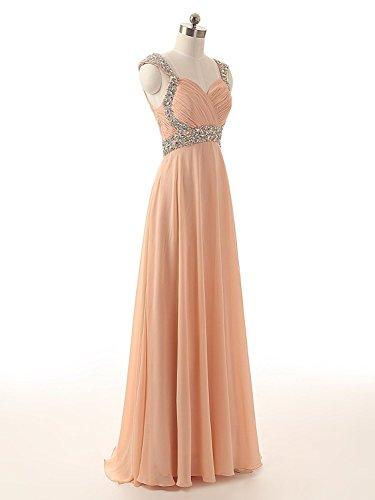 MicBridal® robe de soirée longue, robe de cocktail, robe de mariée à Col V en mousseline de soie Chiffon avec imitation strass et paillettes Vert