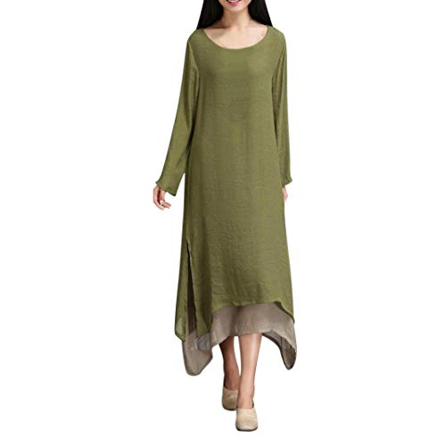 Xmiral Women Dress Cotton and Linen Plus Size O-Neck Loose Dress Long Sleeve Two Color Stitching Dress