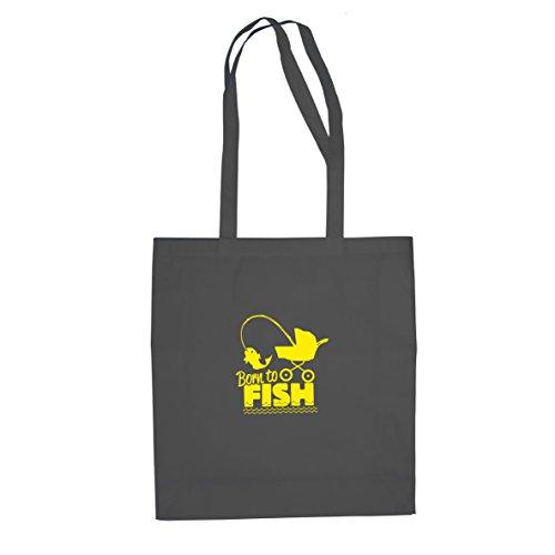 Born to fish - Stofftasche / Beutel, Farbe: grau