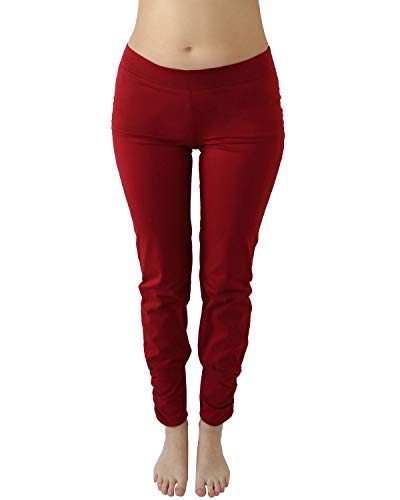 Leela Cotton Damen Yoga-Hose Bio-Baumwolle/Elasthan (L, Rot) -