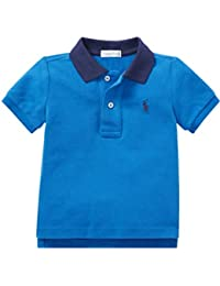 fef6d2e940eed Ralph Lauren Baby Boys Small Pony Polo T Shirt Contrast (6 M) Marine Blue