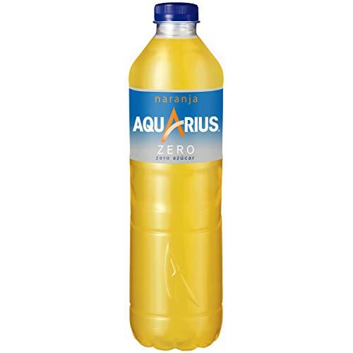 Aquarius - Zero Naranja, Bebida para deportistas, refresco sin gas, 1.5 l, Botella de plástico