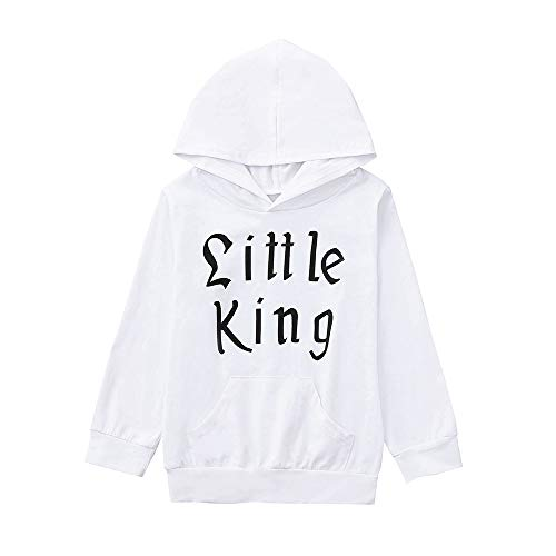 Baby Kapuzenpulli SHOBDW Kleinkind-Baby-Jungen-Mädchen-mit Kapuze Sweatshirts Säugling Buchstaben-Bluse Hoodies Tops (6M, Weiß-1) Hoodie Blazer