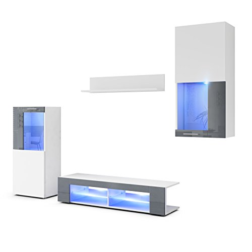 Combinaison murale Movie, Corps en Blanc mat / Façades en Blanc mat avec une bordure en Gris haute brillance avec éclairage LED en Bleu