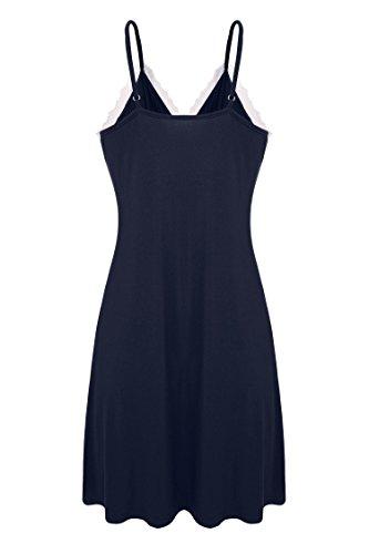 Ekouaer Donna Sleepwear Slip Chemise Abito Salotto Laccetti regolabili Navy