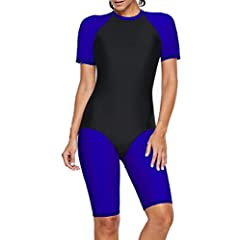 5b24725124ddd Elapsy Womens Zip Front Color Block Rashguard Short Long Slee .