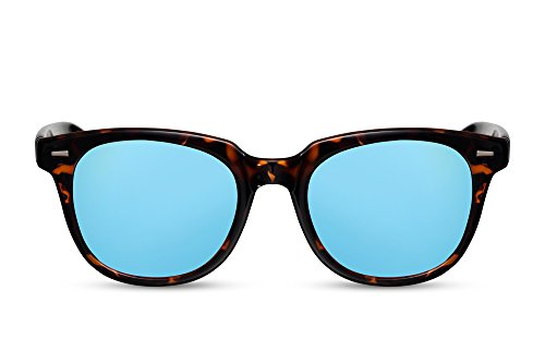 Cheapass Verspiegelt-e Sonnenbrille Wayfarer Schwarz Blau Leo-Print UV-400 Plastik Damen Herren (Print-damen-sonnenbrillen)