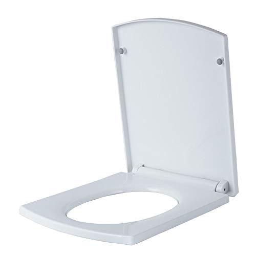 ME Weiß Quadratisch WC-Deckel mit langsamem Schließen Scharniere einstellbar Modernes Badezimmer Toilettendeckel Top Befestigung,White