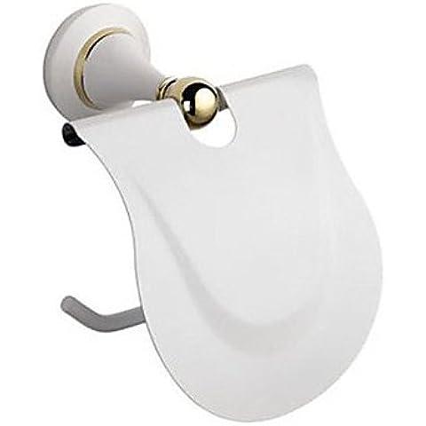 LQK-moderno tessuto a tapparelle porta carta, Ottone cromato accessori bagno