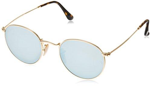 Ray Ban Herren Sonnenbrille Round Metal Gestell: Gold,Bügel: Havana, Gläser: grau 001/30), Small (Herstellergröße: 47)
