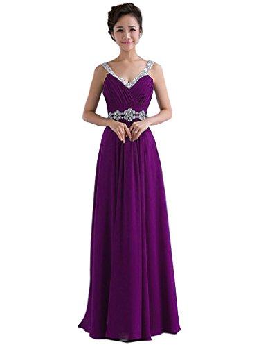 Kmformals Damen V-Ausschnitt Spalte lange Chiffon Prom Kleid Brautjungfer Kleider Größe 60 Lila (Gefüttert Voll Abendkleid Perlen)