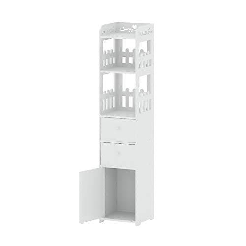 Stand-Bücherschrank Boden Schrank küche Schrank toilettenspalt schließfach Snack schubladenschrank Boden bücherregal badezimmerschrank Schränke (Color : Weiß, Size : 25 * 25 * 120cm) -