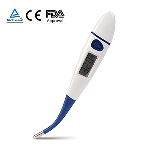 SENRU FDA Approved Digital Thermometer with Sensitive Flexible Probe,Switch Between °F and °C,Suit for Baby, Adult & Children