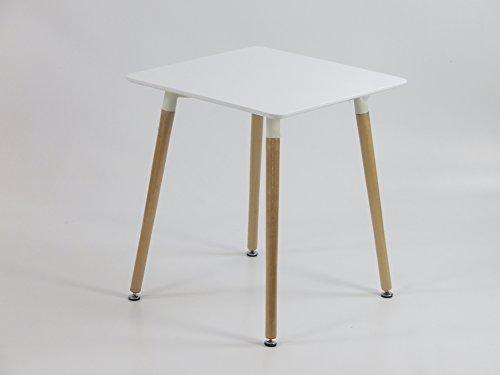 Inspiration Retro Tisch MDF 60x60 in Weiß (Mdf-quadratischer Tisch)