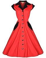 Lindy Bop 'Jeanette' Vintage 1950's Robe, Chemise en Coton
