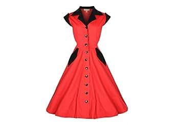 Lindy Bop 'Jeanette' Vintage 1950's Robe, Chemise en Coton (36, Rouge)