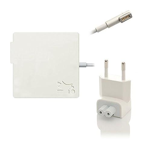 iProtect Ladegerät 85W Netzteil mit MagSafe Netzanschluss für Apple MacBook Charger weiß