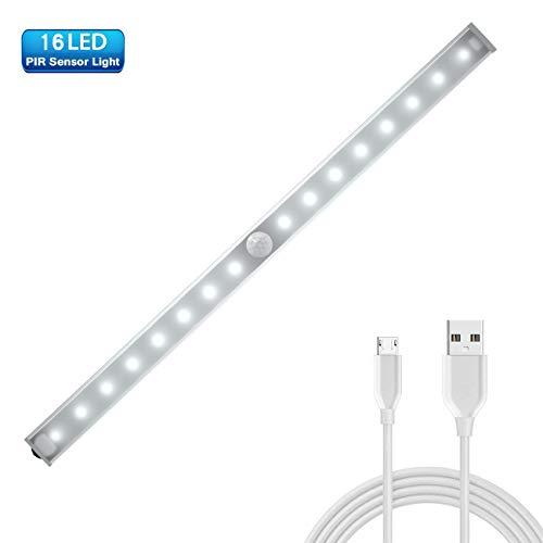 Weixinbuy Nachtlicht mit USB Ladegerät und Lichtsensor für Schrank, Nachttisch, Korridor, Schrank, Küche, Titrette, Garage, Bad, Keller und Buffet -