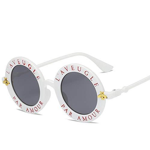 Passionate turkey Leidenschaftlich Truthahn Sonnenbrillen kleinen Bienen runden Rahmen Sonnenbrillen Männer und Frauen Mode Brillen Trend Sonnenbrillen uv400,3-weiß grau