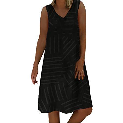 Wtouhe Femme Robe,Jour des Membres 2019 ÉTé Mode DéContractéE Coton Et Lin Couleur Unie Femmes V-Neck T-Shirt à Manches Longues en Coton pour Femmes Robe Chic Plage Vetements en Vrac Aux Genoux Robe