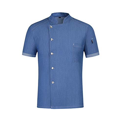 Stretch Denim Chef Uniform Abriebfest Kochhemd Food Service Restaurant Hotelküche Unisex Arbeitskleidung,Blue,L -