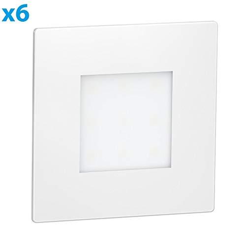 ledscom de LED lámpara de Escalera FEX lámpara empotrable en la Pared,  Blanca, Angular, 8,5x8,5cm, 230V, Blanca fría, 6 UDS