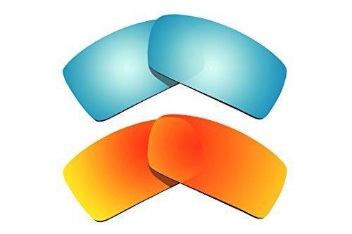 BVANQ 2Paar Polarisierte Ersatz Objektive Blau & Rot für Oakley Sonnenbrille Gascan
