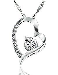 B.Catcher Herz Halskette Kette Anhänger 925 Silber Damen Schmuck \'\'Ewig Liebe\'\'45CM Kettenlänge Valentinstag Geschenk