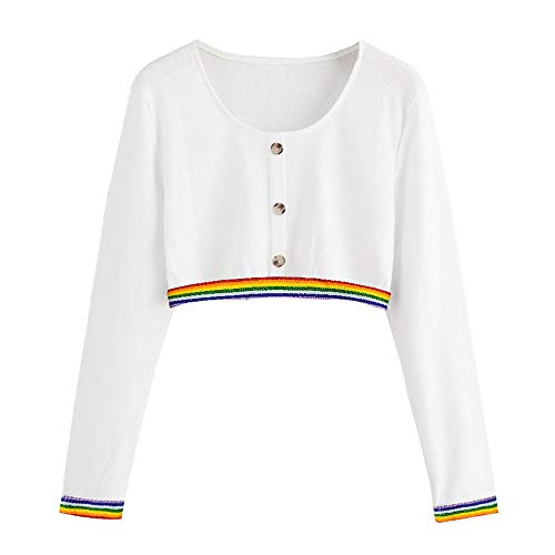 DAYSEVENTH Women Sweater Solid Color Patterned Ribbon Rainbow Button Long Sleeve Sweatshirt