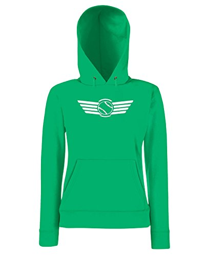 T-Shirtshock - Sweatshirt a capuche Femme SP0066 Flying Baseball Maglietta Vert