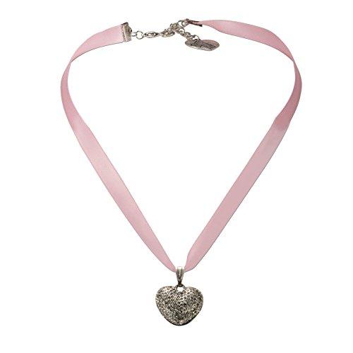 Alpenflüstern Satin-Trachtenkette Strass-Herz Trachtenherz - Damen-Trachtenschmuck rosé-rosa DHK060
