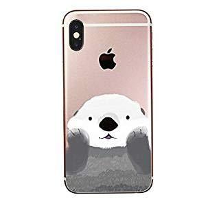 zhülle für iPhone, süßes Tier, Ozean, aus Gummi, flexibel, Silikon, transparent - süßer Kawaii-Tier-Otter iPhone XR Translucent, Multicolored ()