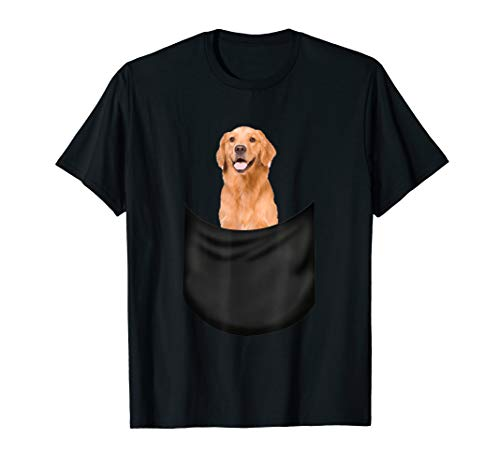 Golden Retriever Pocket T-Shirt Funny Father's Day Dog Gifts -