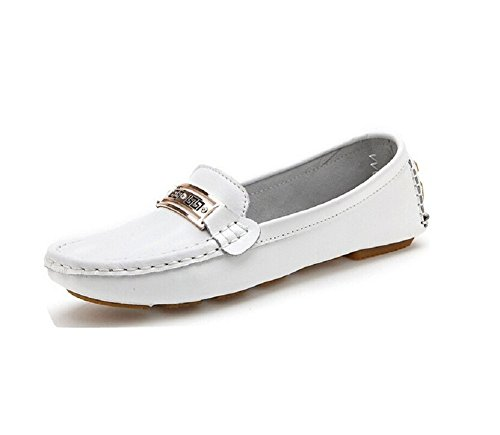 Lazutom mujeres Casual cómodo Vintage Leather Loafer conducción mocasín zapatos, color blanco, talla 36 EU