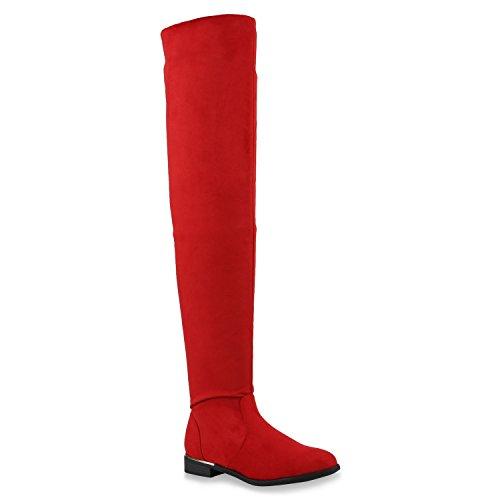 Damen Stiefel Overknees Veloursleder-Optik Winterstiefel Langschaftstiefel Metallic Blockabsatz Schuhe 144689 Rot 39 ()