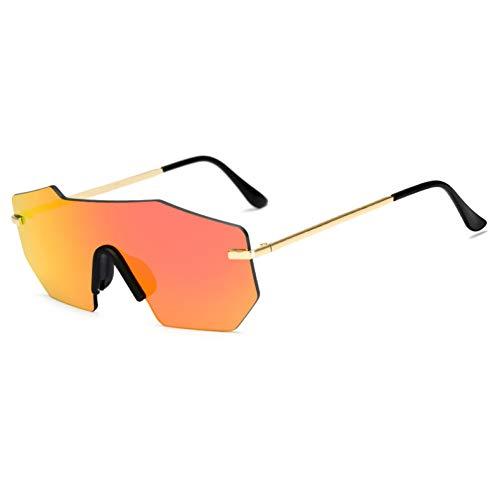 SYQA Sonnenbrille Übergroße Frauen Sonnenbrille Einzigartige Randlose Verspiegelte Linse Mode Männer Sonnenbrille Große Sommerbrille Für Frauen/Männer,C7