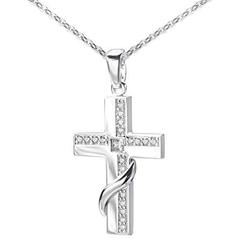 MATERIA Damen Kettenanhänger Kreuz 925 Silber - 70cm Kreuzkette christlich Religion mit Zirkonia und Etui KA-2_K97-70 cm