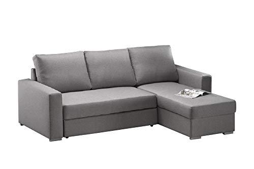 Casarreda divano letto angolare mod. penny con penisola contenitore reversibile, rivestito in tessuto antimacchia idrorepellente