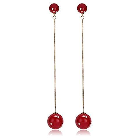 Epinki Boucles d'oreilles Plaqués Or Femmes Double Zircon Cubique Perle Rouge Dangle Boucles d'oreilles