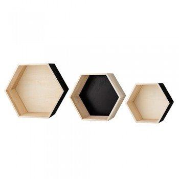 Bloomingville Storage Box 3 er Set Sechseck schwarz & natur