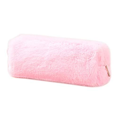 Youliy - Astuccio per matite per ragazze, tinta unita, in peluche, per la scuola rosa
