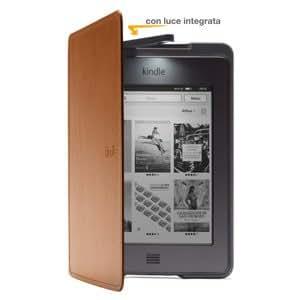 Custodia Amazon in pelle con luce per Kindle Touch, colore: Marrone chiaro (adatta solo per Kindle Touch)