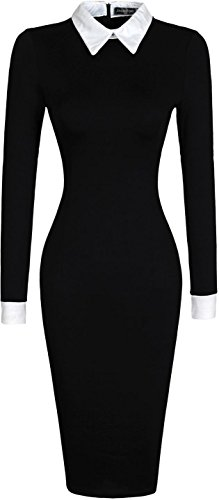 jeansian Donna Retro Fascino Elegante Risvolto Camicetta Sottile Ginocchio Gonna Dress WKD247 Black S