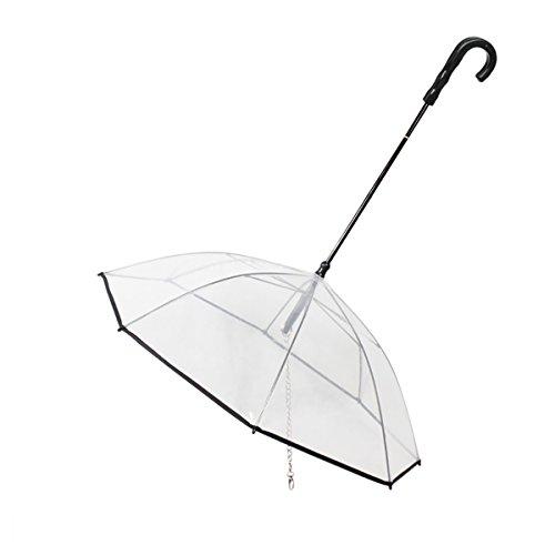 PETCUTE Paraguas para Perros Paraguas para Mascotas con Correa Paraguas Transparente para...